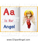 Illustration Vector Cartoon of Alphabet Letter a Is for Angel Book Pages by Graphics RF