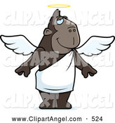 Illustration Vector Cartoon of an Angel Ape with a Halo and Wings by Cory Thoman