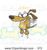 Illustration Vector Cartoon of an Cooky Cartoon Angel Dog in Heaven by Toonaday