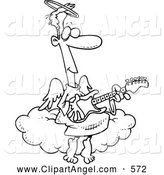Illustration Vector Cartoon of an Friendly Angel Man Playing a Guitar by Toonaday