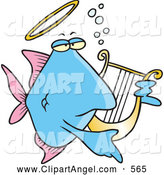 Illustration Vector Cartoon of an Friendly Cartoon Angelfish Playing a Lyre by Toonaday