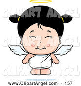 Illustration Vector Cartoon of an Happy and Cute Asian Angel Girl by Cory Thoman