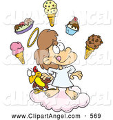 Illustration Vector Cartoon of an Happy Cartoon Girl in Heaven with Ice Cream by Toonaday