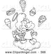 Illustration Vector Cartoon of an Happy Girl in Heaven with Ice Cream by Toonaday