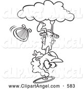 Illustration Vector Cartoon of an Mad Angel Upside down on a Cloud, on White by Toonaday
