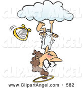 Illustration Vector Cartoon of an Mad Caucasian Cartoon Angel Upside down on a Cloud by Toonaday