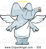Illustration Vector Cartoon of an Smiling Angel Elephant with a Halo by Cory Thoman