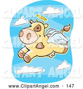 Illustration Vector Cartoon of an Smiling Flying Angel Cow by Cory Thoman