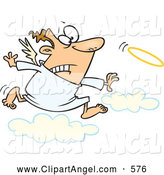 Illustration Vector Cartoon of an Worried Cartoon Male Angel Chasing His Halo by Toonaday