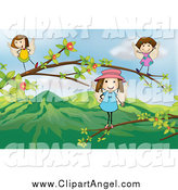 Illustration Vector Cartoon of Angel Girls on a Tree Branch over Mountains by Graphics RF