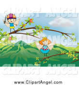 Illustration Vector Cartoon of Angel Princess and Viking Kids Playing on Branches by Graphics RF