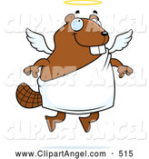 Illustration Vector Cartoon of ASmiling Flying Angel Beaver with a Halo by Cory Thoman