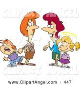 Illustration Vector Cartoon of Cartoon Mothers with Contrasting Kids; One Bratty and One Good by Toonaday