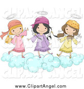 Illustration Vector Cartoon of Cute Angel Girls Jumping on a Cloud by BNP Design Studio