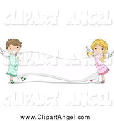 March 1st, 2014: Illustration Vector Cartoon of Cute Angel Kids Holding a Blank Banner by BNP Design Studio