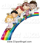 Illustration Vector Cartoon of Cute Diverse Angel Kids Sliding down a Rainbow by BNP Design Studio