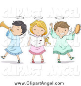 Illustration Vector Cartoon of Singing Angel Children Playing Instruments by BNP Design Studio