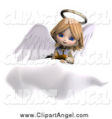 Illustration Vector of a 3d Angel Girl Sitting on a Cloud by Ralf61