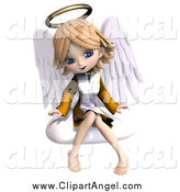 September 7th, 2014: Illustration Vector of a 3d Blond Angel Girl Sitting on a Cloud by Ralf61