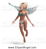 Illustration Vector of a 3d Blond Female Angel in a Bikini by Ralf61