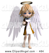 Illustration Vector of a 3d Blond White Angel Girl Waving by Ralf61