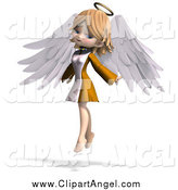 Illustration Vector of a 3d Blond White Cute Angel Girl Flying by Ralf61