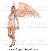 Illustration Vector of a 3d Brunette Angel Woman with Big Wings by Ralf61