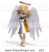 Illustration Vector of a 3d Cute Blond Angel Girl by Ralf61