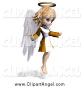 Illustration Vector of a 3d Cute Blond White Angel Girl Flying and Facing Right by Ralf61