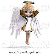 Illustration Vector of a 3d Cute Blond White Angel Girl Flying by Ralf61