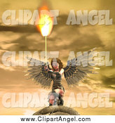 Illustration Vector of a 3d Female Angel Holding a Flaming Sword by Ralf61