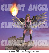 Illustration Vector of a 3d Female Guardian Angel Holding a Flaming Sword on a Cliff by Ralf61