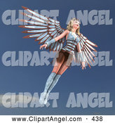 Illustration Vector of a 3d Guardian Angel Woman Flying by Ralf61