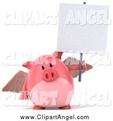 Illustration Vector of a 3d Pig Angel Holding up a Blank Sign by Julos