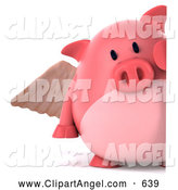 Illustration Vector of a 3d Pig Angel Peeking Around a Sign by Julos