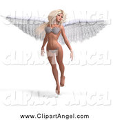 Illustration Vector of a 3d White Blond Angel or Fairy Floating in a Bikini by Ralf61