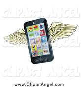Illustration Vector of a 3d Winged Flying Cell Phone by AtStockIllustration
