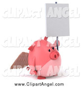 Illustration Vector of a 3d Winged Pig Angel Facing Right and Holding a Blank Sign by Julos