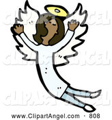 Illustration Vector of a African American Angel Singing by Lineartestpilot
