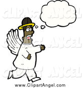 Illustration Vector of a African American Angel Thinking and Walking by Lineartestpilot