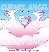 Illustration Vector of a Angel Heart Flying Above Pink Clouds by Cidepix