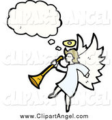 Illustration Vector of a Angel Thinking and Holding a Horn by Lineartestpilot