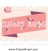 Illustration Vector of a Angels with Hearts on a Pink Banner by Elena