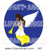 Illustration Vector of a Beautiful Tanned Christmas Angel with a Horn, Under the North Star by Rosie Piter
