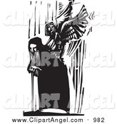 Illustration Vector of a Bent over Old Man and Angel Emerging from His Back Black and White Woodcut by Xunantunich