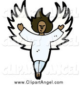 Illustration Vector of a Black African American Angel by Lineartestpilot