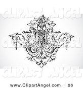 Illustration Vector of a Black and White Angel and Floral Design Element by BestVector
