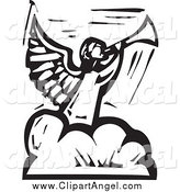 Illustration Vector of a Black and White Angel Blowing a Trumpet on a Cloud by Xunantunich