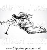 Illustration Vector of a Black and White Angel Blowing Two Trumpets by BestVector