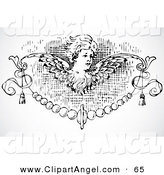 Illustration Vector of a Black and White Angel Border Design Element on Gray by BestVector